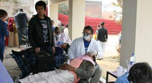 Patients checking in on Mission trip to India